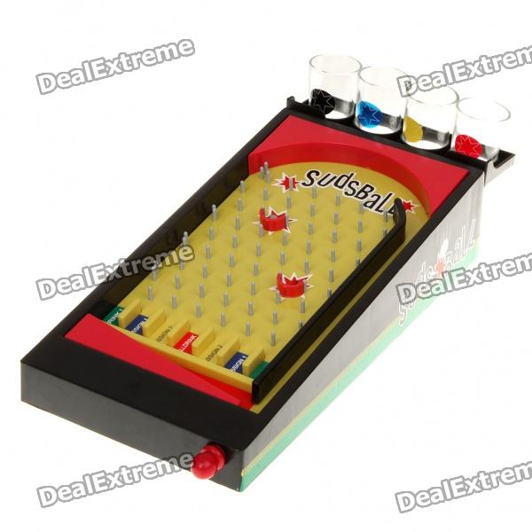 Suds Ball Pinball Drinking Game Set - Black + Red + Yellow lucky shot drinking roulette game 6 cup set