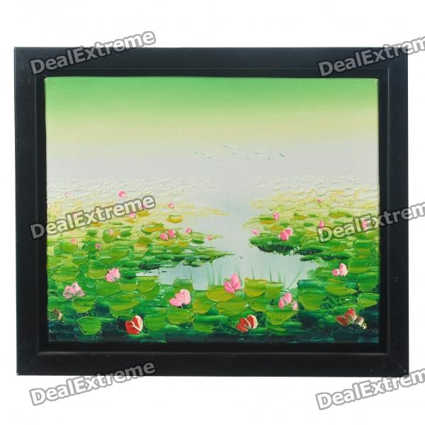 hand-painted-lotus-pond-oil-painting-with-wooden-frame