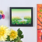 Hand Painted Lotus Pond Oil Painting with Wooden Frame