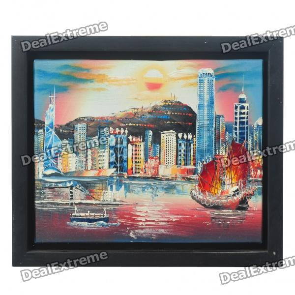 Hand Painted Victoria Harbour Oil Painting with Wooden Frame