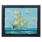 Hand Painted Sailing Boat Oil Painting with Wooden Frame