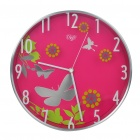"Modern 12"" Butterfly Pattern Round Wall Clock - Rose Red (1 x AA)"