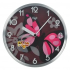 "Modern 12"" Butterfly Pattern Round Wall Clock - Black + Pink + Silver (1 x AA)"