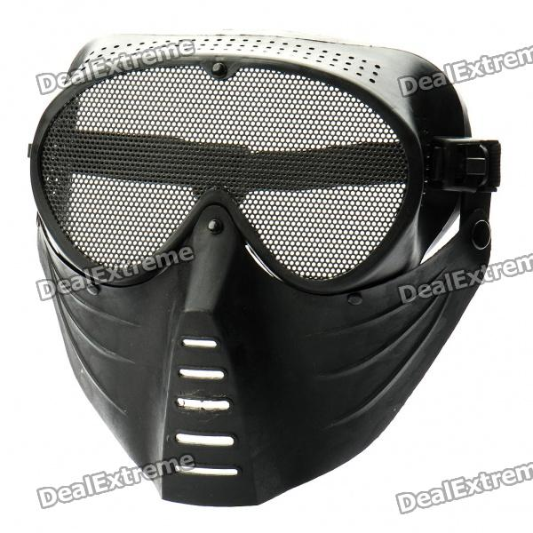 Protective Outdoor War Game Military Tactical Face Shield Mask - Black - DXFace Masks<br>Color: Black - Material: Rubber + steel metal mesh - Adjustable elastic band for different head size make you feel comfortable when wearing it - Great for outdoor war game provides good protection for your face - Prevent your eyes from tiny objects such as BB bullet - Lightweight and convenient<br>