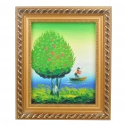 Handmade Hand Painted Oil Painting with 2cm Wooden Frame - Spring Tree