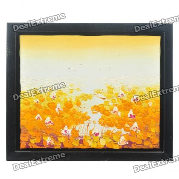 handmade-hand-painted-oil-painting-with-4cm-thick-wooden-frame-autumn-lotus