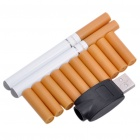 Quit Smoking USB Rechargeable Electronic Cigarettes w/10-Refills - White + Yellow