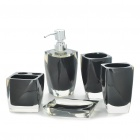 Bathroom Resin Accessories Set - Black (5-Piece Pack)