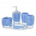 Bathroom Resin Accessories Set - Light Blue (5-Piece Pack)