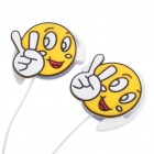 Cute Smile Face Expression Style Ear-Hook Earphone w/ Microphone (3.5mm-Jack/113cm-Cable)