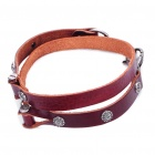 Retro Flower Rivets Cow Leather Waist Chain - Brown