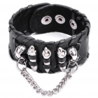 Cool Skull Bullet PU Leather Bracelet - Black