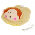 Cute Monkey Style USB Powered Plush Fabric Feet Warmer Cushion - Yellow