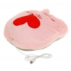 Cute Heart Pattern USB Powered Plush Fabric Feet Warmer Cushion - Pink
