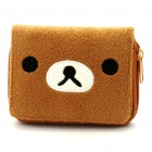 Cute Rilakkuma Bear Pattern Double-Fold Plush Wallet - Brown