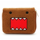 Cute Domo Pattern Double-Fold Plush Wallet - Brown