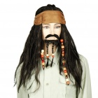 Halloween Costume Caribbean Pirate Jack Sparrow Wig w/ Beards - Black + Brown