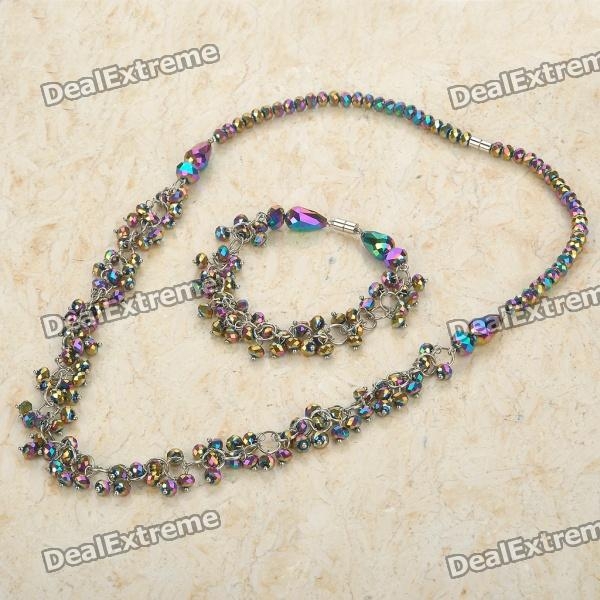 Stylish Colorful Rhinestone Beads Necklace + Bracelet Set stylish colorful beads tassel pendant necklace for women