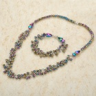 Stylish Colorful Rhinestone Beads Necklace + Bracelet Set