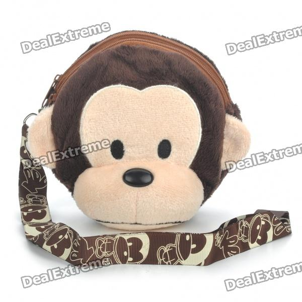 Cute Monkey Style Plush Fabric Bag w/ Strap - Brown