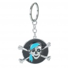 Cool Zinc Alloy Pirate Skull Keychain - Black + Silver