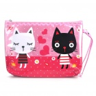Cute Black and White Cat Pattern Water Resistant Handbag - Pink
