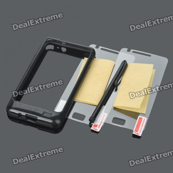PVC Protective Bumper Frame w/ Screen Guards/Stylus for Samsung Galaxy S2/i9100 - Black самсунг i9100 galaxy s2 б у на онлайнере