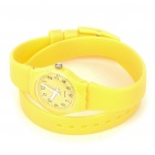 Stylish Water Resistant Silicone Long Band Wrist Watch - Yellow (1 x 377)