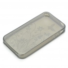 Stylish Flowers and Butterfly Pattern Protective TPU Back Case for Iphone 4 - Transparent Grey