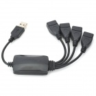 High-Speed USB 4-Port Hub with Splitter Cable - Black