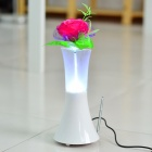 USB Rechargeable 6-LED White Light Desktop Lamp MP3 Player Speaker w/ FM/USB/AUX/SD - White