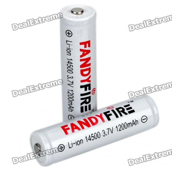 FANDYFIRE Protected 14500 Rechargeable 3.7V 400mAh Li-ion Batteries - White (Pair) soshine 18650 3 7v 3100mah rechargeable li ion batteries with pcb protection pair