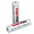 FANDYFIRE Protected 14500 Rechargeable 3.7V 400mAh Li-ion Batteries - White (Pair)
