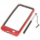 Protective PVC Bumper Frame with Stylus for Samsung i9100 Galaxy S2 - Black + Red