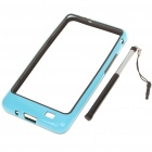 Protective PVC Bumper Frame with Stylus for Samsung i9100 Galaxy S2 - Black + Blue