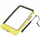 Protective PVC Bumper Frame with Stylus for Samsung i9100 Galaxy S2 - Black + Yellow