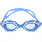 Stylish PC Lens Swimming Goggle Glasses w/ Carrying Box - Blue + White