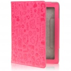 Cute Cartoon Patterns PU Leather Wake-Up/Sleep Smart Cover for iPad 2 - Deep Pink
