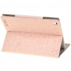 Cute Cartoon Patterns PU Leather Wake-Up/Sleep Case for Ipad 2 - Pink