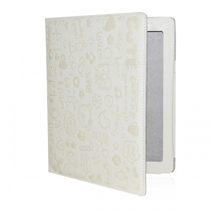 Cute Cartoon Patterns PU Leather Wake-Up/Sleep Case Ipad 2 - White