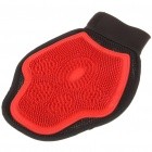 Double-Sided Pet Grooming Massage Glove - Red + Black