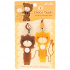 Cute Valentine's Bear Style Earphone Cord Cable Winders Organizers w/ Cell Phone Straps (Pair)
