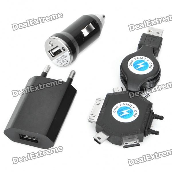 USB Car /AC Power Charger with Universal Cellphone Charging Adapter Set - Black (100-240V)