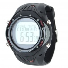 Stylish Multifunction Water-Resistant Wireless Heart Rate Monitor Sports Watch - Black