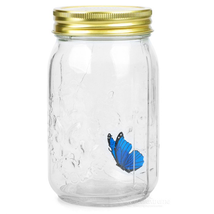 Emulational Voice Control Butterfly Glass Jar (3 x AAA)