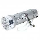 USB Rechargeable/Hand-Cranked 7-LED White Flashlight MP3 FM Music Speaker w/ USB Power Out + TF