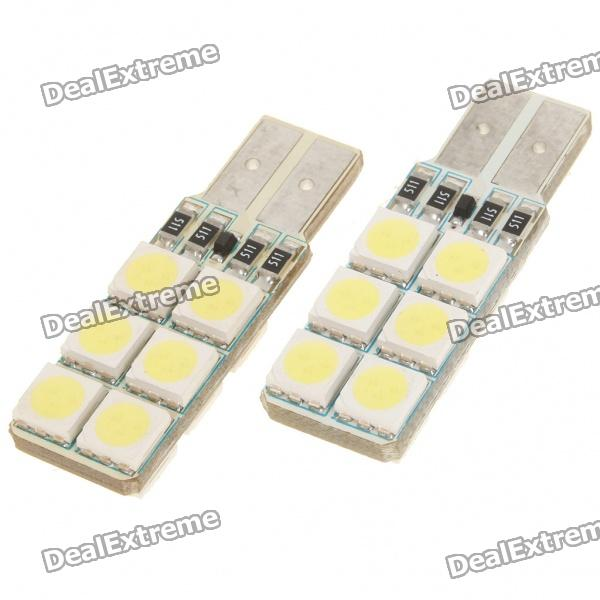 T10 1.2W 8000K 194-Lumen 12-5050 SMD LED White Light Bulbs (DC 12~14V/Pair) 1157 bay15d 5050 30 smd 4w 6500k 360lm led car light bulbs dc 14v pair