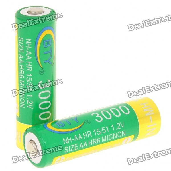 BTY Rechargeable 1.2V 3000mAh Ni-MH AA Batteries (Pair) bty 1 2v 3000mah ni mh rechargeable aa batteries pair