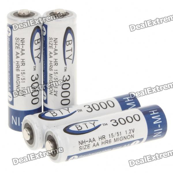 BTY Rechargeable 1.2V 3000mAh Ni-MH AA Batteries (4-Piece) bty 1 2v 3000mah ni mh rechargeable aa batteries pair