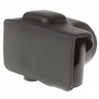 Protective PU Leather Carrying Bag with Strap for Sony NEX C3 - Black
